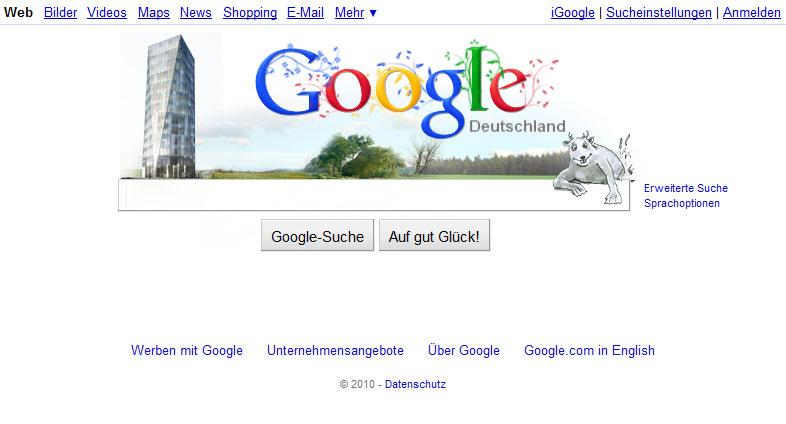 inoffizielle GoogleStartseite mit Neckartower Schwenninger Moos und Dilldapp
